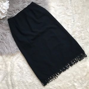 Pendleton Wool Pencil Skirt Black Fringe size 8